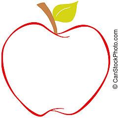 colorare, mela, contorno