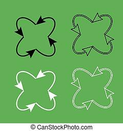colorare, nero, cappio, frecce, icona, set, quattro, centro, bianco