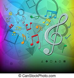 colorare, note, moderno, musica, fondo