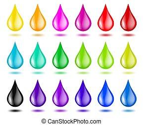 colorare, o, vernice, set, gocce, illustrazione, white., vettore