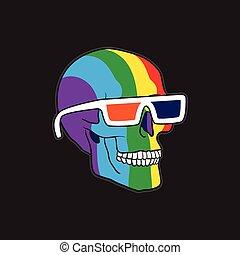 colorare, occhiali, cranio, 3d