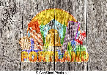 colorare, oregon, illustratio, orizzonte, legno, fondo, portland, cerchio