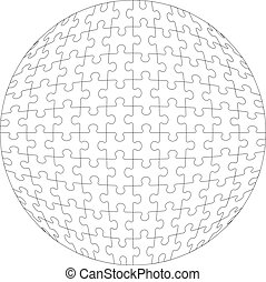 colorare, palla, puzzle, 3d