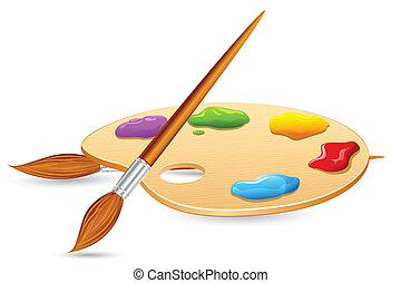 colorare, pallet, spazzola