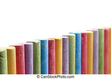 colorare, pastelli, organizzato, linea
