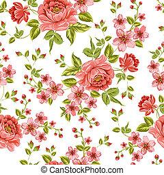 colorare, pattern., peonia, lussuoso