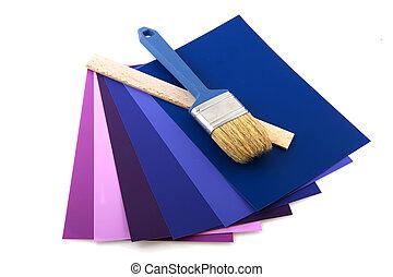 colorare, pennello, campioni