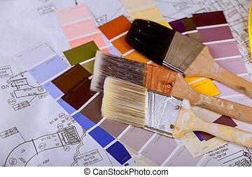 colorare, pennello, scheda, campioni