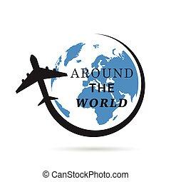 colorare, pianeta, aeroplano, illustrazione, terra