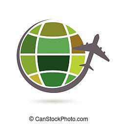 colorare, pianeta, aeroplano, vettore, terra