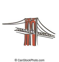 colorare, ponte, brooklyn, illustrazione, appartamento