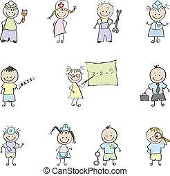 colorare, professione, bambini