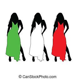 colorare, ragazza, vettore, vestire