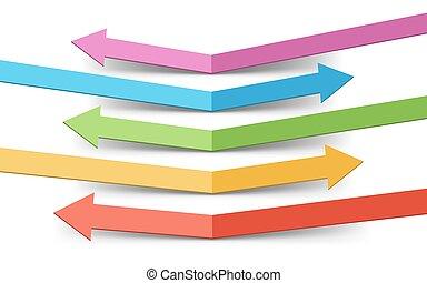 colorare, rimbalzato, frecce, sagoma, infographic