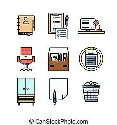 colorare, roba, set, ufficio, icona