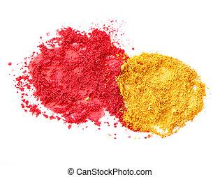 colorare, rosso giallo, polvere