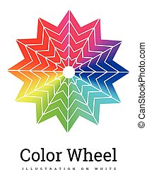 colorare, ruota, vettore, illustrazione