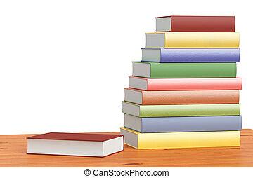colorare, scaffale, libri, pila