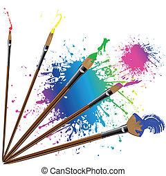 colorare, schizzi, pennello