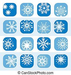 colorare, set, fiocco di neve, icona