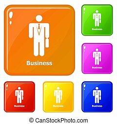 colorare, set, icone affari