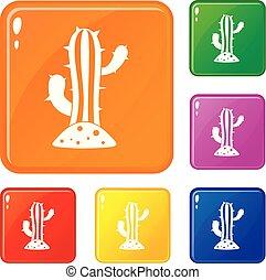 colorare, set, vettore, cactus, icone