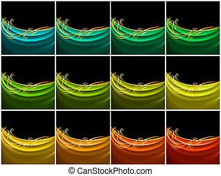 colorare, seta, set, tenda, tessuto