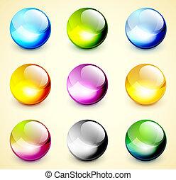 colorare, sfere, set, lucido