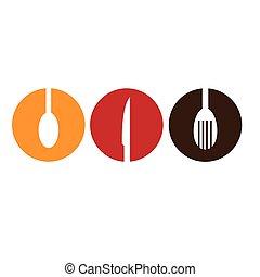 colorare, silhouette, emblema, coltelleria