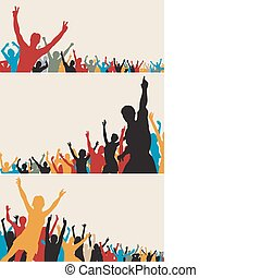 colorare, silhouette, folla