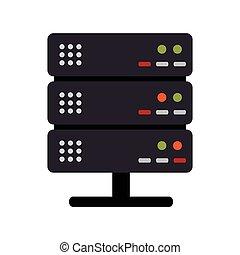 colorare, silhouette, scaffale, server