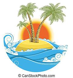 colorare, simbolo, tropicale, sfondo sole, isolato, island., vettore, marina, bianco