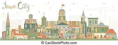 colorare, skyline città, iowa, edifici.