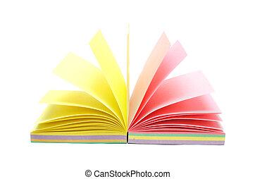 colorare, sopra, quaderno, isolato, bianco