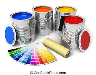 colorare, spazzola, vernice, guida, rullo, lattine