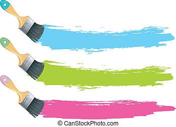 colorare, spazzole vernice, schizzi