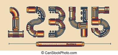 colorare, stile, tipografia, monocromatico, numeri, macchina, set, yz, vendemmia