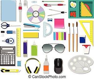 colorare, supplies., set, vettore, ufficio