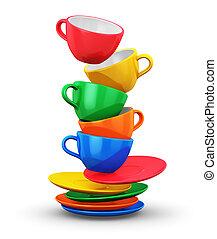 colorare, tazze caffè, pila