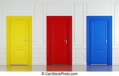 colorare, tre, porte