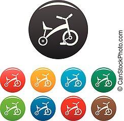 colorare, triciclo, set, bambini, icone