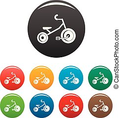 colorare, triciclo, set, capretto, icone
