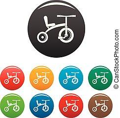 colorare, triciclo, set, retro, icone