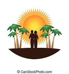 colorare, tropicale, silhouette, paesaggio