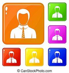 colorare, uomo affari, set, icone