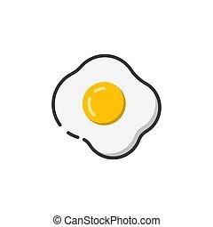 colorare, uovo fritto, contorno, icona