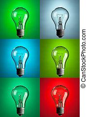 colorare, vario, fondo, lampadine, luce