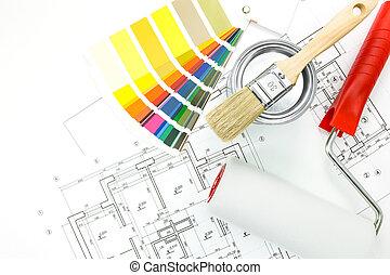 colorare, vaso, progetti, spazzola, swatches, rullo, vernice