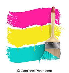 colorare, vernice, bandiere, spazzola