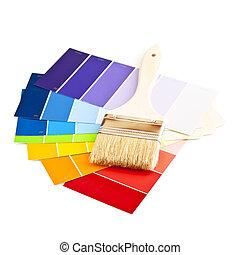 colorare, vernice, cartelle, spazzola